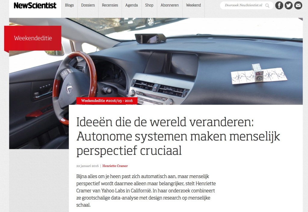 A car, NewScientist.nl cover on autonomous systems.